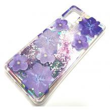 Луксозен гръб 3D Water Case за Huawei Y5p - течен гръб с брокат / прозрачен с лилави цветя