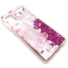 Луксозен гръб 3D Water Case за Samsung Galaxy A51 - течен гръб с розов брокат / прозрачен с розови цветя