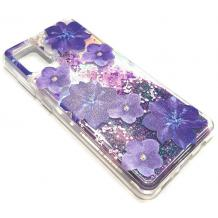 Луксозен гръб 3D Water Case за Samsung Galaxy A51 - течен гръб с брокат / прозрачен с лилави цветя
