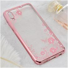 Луксозен силиконов калъф / гръб / TPU с камъни за Samsung Galaxy А20е - прозрачен / розови цветя / Rose Gold кант