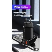 Зарядно устройство 220V USAMS CC121 PD3+QC3 20W - черно