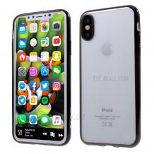 Оригинален силиконов калъф / гръб / TPU G-Case Plating за Apple iPhone XS MAX - прозрачен / черен кант