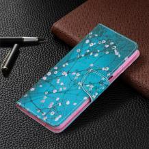 Кожен калъф Flip тефтер Flexi със стойка за Nokia 2.4 - син / цветчета