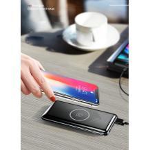 Универсална външна батерия с безжично зареждане USAMS PB2 / Universal Wireless Charger Dual USB Type-C Power Bank USAMS PB2 10000mAh - черна