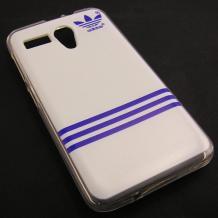 Силиконов калъф / гръб / TPU за Lenovo A606 - бяло и синьо / Adidas