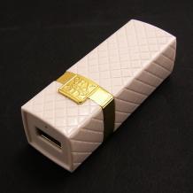Mини USB зарядно за кола / Mini USB Car Charger Sex And The City 12V-24V / 5V-2.1A - бял / червило