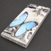 Силиконов калъф / гръб / TPU за Lenovo Vibe Z2 - сив / синя пеперуда