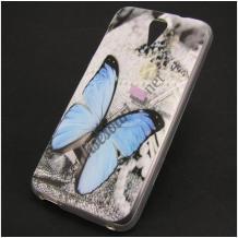 Силиконов калъф / гръб / TPU за Lenovo Vibe C2 - сив / синя пеперуда