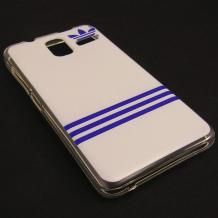Силиконов калъф / гръб / TPU за Lenovo S580 - бяло и синьо / Adidas