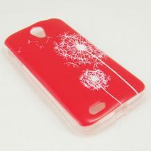 Силиконов калъф / гръб / TPU за Lenovo A859 - червен / бяло глухарче
