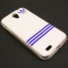 Силиконов калъф / гръб / TPU за Lenovo A859 - бяло и синьо / Adidas