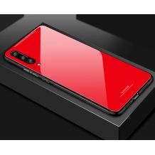 Луксозен стъклен твърд гръб за Samsung Galaxy A50 - червен