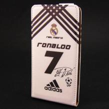 Кожен калъф Flip тефтер Flexi за Lenovo K920 Vibe Z2 Pro - бяло и черно / Ronaldo 7 / Adidas