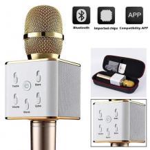 Караоке микрофон с вградени стерео високоговорители / Bluetooth Wireless Microphone Hifi Speaker Q7 - Gold
