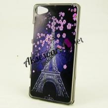 Силиконов калъф / гръб / TPU за LG Q6 - Айфелова кула / розови цветя