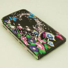 Кожен калъф Flip тефтер Flexi за Lenovo A5000 - черен / цветя и пеперуди