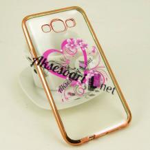 Луксозен силиконов калъф / гръб / TPU с камъни за Samsung Galaxy J5 / Samsung J5 - розово сърце / златист кант