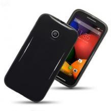 Силиконов калъф / гръб / TPU за Motorola Moto E - черен / гланц
