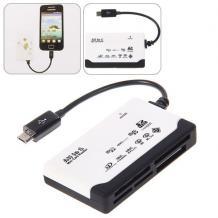 OTG Memory Card Reader / карточетец / с micro USB за Samsung Galaxy S4 i9500, S6310,  S7562, i9105, i9295, S3 I9300, S2 I9100 , Sony Xperia S, Xperia Z, N7100, HTC One, Core i8262, Grand i9082, i9295, i9195