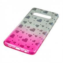 Силиконов калъф / гръб / TPU за Samsung Galaxy S8 Plus G955 - преливащ / сребристо и розово / сърца / брокат