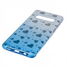 Силиконов калъф / гръб / TPU за Samsung Galaxy S8 Plus G955 - преливащ / сребристо и синьо / сърца / брокат