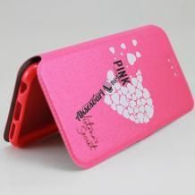 Кожен калъф Flip тефтер Flexi със стойка за Lenovo Vibe C2 - розов / сърца / Victoria`s Secret