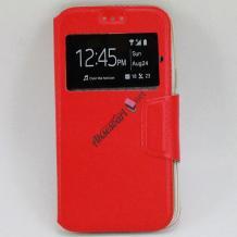 Кожен калъф Flip тефтер S-view със стойка за Telenor Smart II / Telenor Smart 2 - червен / Flexi
