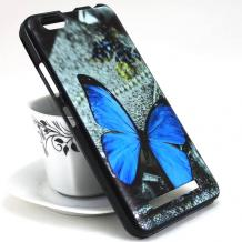 Силиконов калъф / гръб / TPU за Alcatel 5 5086D - сив / синя пеперуда