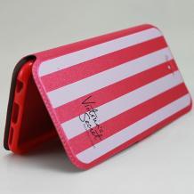 Кожен калъф Flip тефтер Flexi със стойка за Apple iPhone 5 / iPhone 5S / iPhone SE - розово райе / Victoria`s Secret