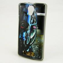 Силиконов калъф / гръб / TPU за Lenovo Vibe C2 - черен / синя кола