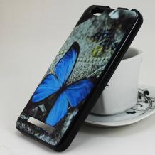 Силиконов калъф / гръб / TPU за Asus Zenfone 4 Max ZC520KL - сив / синя пеперуда
