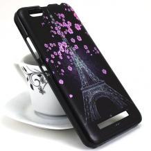 Силиконов калъф / гръб / TPU за Meizu M6 Note - Айфелова кула / лилави цветя