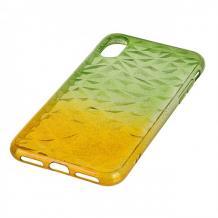 Луксозен силиконов калъф / гръб / TPU за Apple iPhone X / iPhone XS - призма / зелено и жълто / брокат