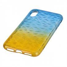 Луксозен силиконов калъф / гръб / TPU за Apple iPhone X / iPhone XS - призма / синьо и жълто / брокат