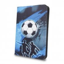Универсален кожен калъф със стойка за таблет 9'' / 10'' - син / футбол