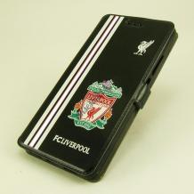 Кожен калъф Flip тефтер Flexi със стойка за Lenovo Moto Z - FC Liverpool / Adidas