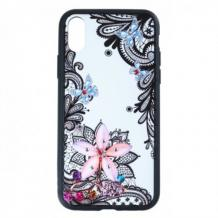 Луксозен твърд гръб BEAUTY с камъни за Samsung Galaxy Note 10 Plus / Samsung Galaxy Note 10 Pro N976 - прозрачен / черен кант / цвете с пеперуди