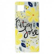 Луксозен гръб с камъни за Apple iPhone 11 - Жълти цветя