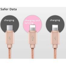 Оригинален USB кабел Baseus Portman Series 1.2М 3in1 Micro USB, iPhone USB Charging Cable, iPhone USB Data cable - сребрист