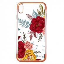 Силиконов калъф / гръб / TPU за Huawei P20 - цветя / Rose Gold кант
