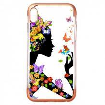 Силиконов калъф / гръб / TPU за Huawei P20 - момиче с пеперуди / Rose Gold кант