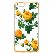 Силиконов калъф / гръб / TPU за Apple iPhone 7 / iPhone 8 - жълти рози / златист кант