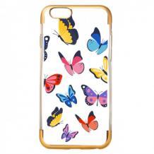 Силиконов калъф / гръб / TPU за Apple iPhone 7 / iPhone 8 - пеперуди / златист кант
