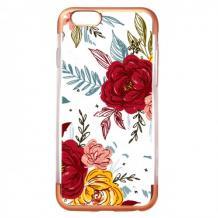 Силиконов калъф / гръб / TPU за Apple iPhone 7 / iPhone 8 - цветя / Rose Gold кант