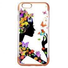 Силиконов калъф / гръб / TPU за Apple iPhone 6 / iPhone 6S - момиче с пеперуди / Rose Gold кант