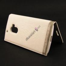 Кожен калъф Flip тефтер New Face за Lenovo Vibe P1M - бял
