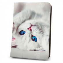 Универсален кожен калъф със стойка за таблет 9'' / 10'' - бял / коте