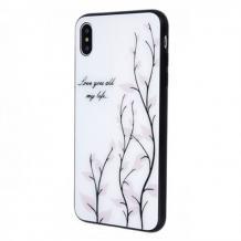 Луксозен стъклен твърд гръб за Samsung Galaxy A40 - бял / листа
