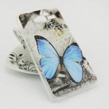 Силиконов калъф / гръб / TPU за ZTE Blade L3 - сив / синя пеперуда