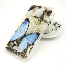 Силиконов калъф / гръб / TPU за Motorola Moto E5 Plus - сив / синя пеперуда